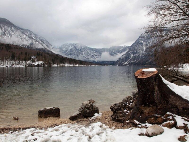 Bohinjské jezero v zimě (video)