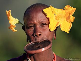"""Surmové jsou divocí a velmi nebezpeční. Sousedí skmenem Bumů, jejich území se dělí u """"Kruhové hory"""" vjižní Etiopii na samých hranicích se Súdánem. Surmové prosazují spíše nahotu, zatímco Bumové se zdobí opravdu vším, co najdou. Surmové se kbohům nemodlí, nestarají se o ně, oni prostě nemají..."""