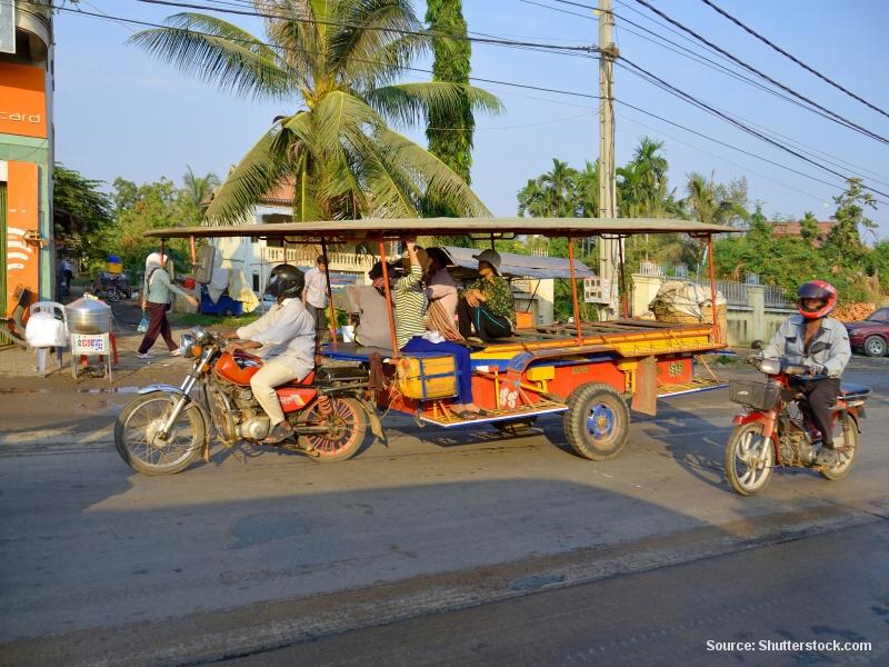 Kambodža - Ubytování a doprava