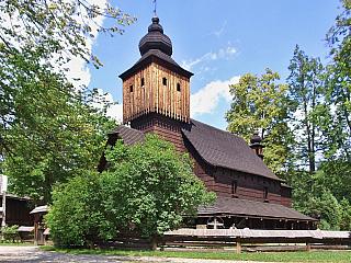 Dřevěné městečko v Rožnově pod Radhoštěm (Česká republika)